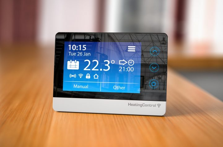 Heating climat control in home concept. Programmable thermostat