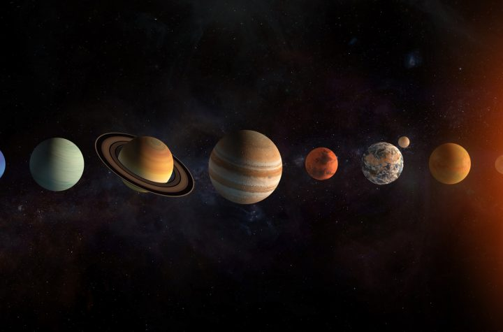 Solar system planets set. The Sun and planets in a row on univer