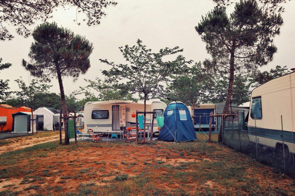 Camping caravans and tents