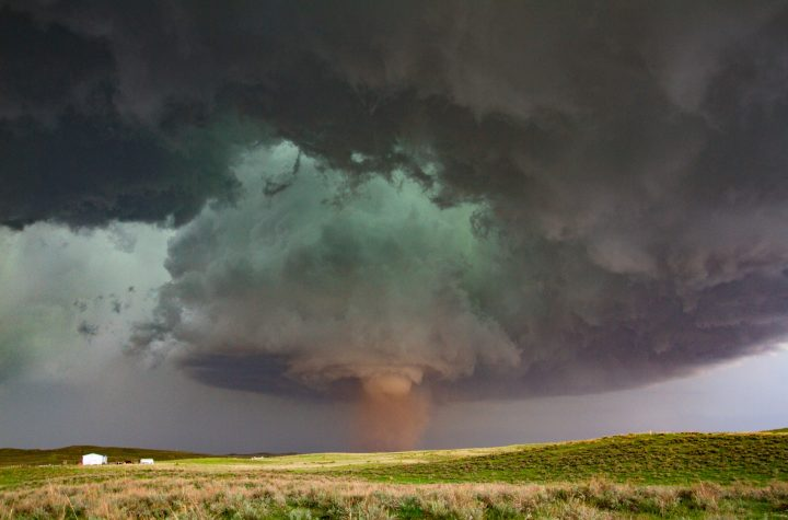 Tornado with clouds