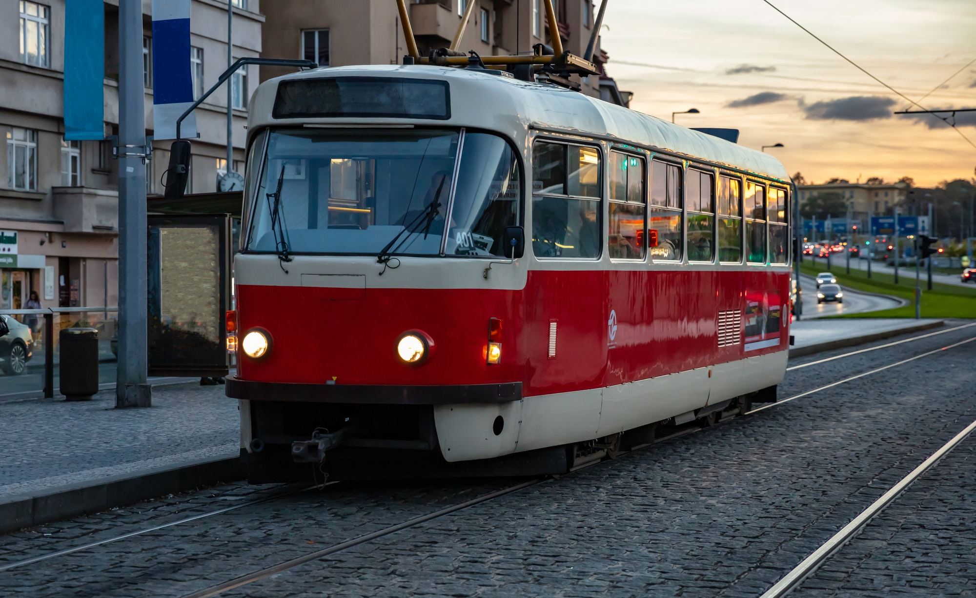 Old fashioned tram in the city center, Prague