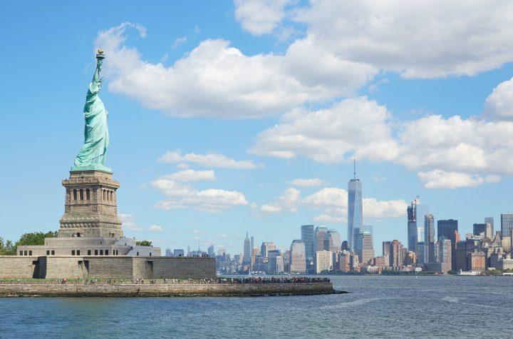 Statue of Liberty island and New York city skyline
